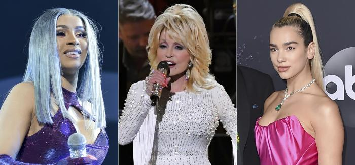 From left to right: Cardi B, Dolly Parton and Dua Lipa