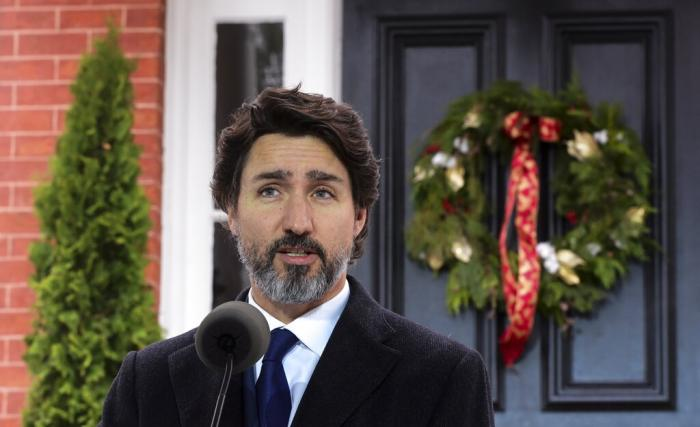 Prime Minister Justin Trudeau holds a press conference at Rideau Cottage.