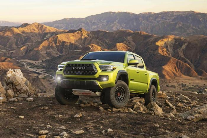 This photo provided by Toyota Motor Sales U.S.A. shows the 2022 Toyota Tacoma. It excels at off-roading capability and comes in a wide variety of configurations